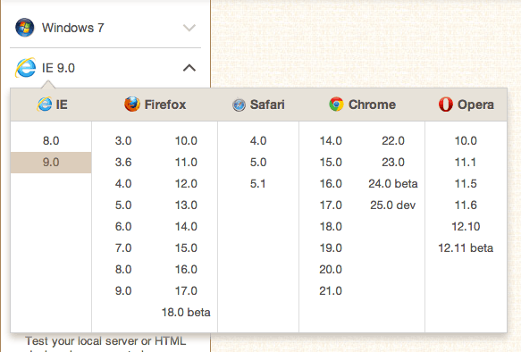 BrowserStack's Browser choices menu