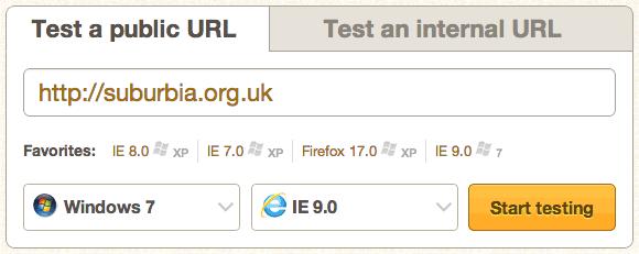 BrowserStack's URL entry fields screen