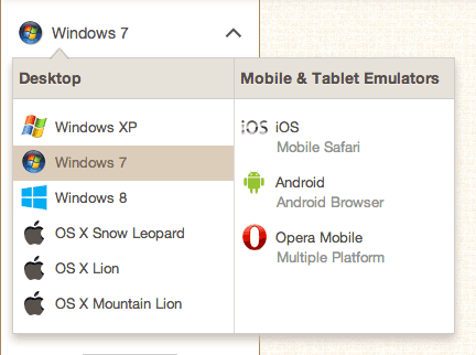 BrowserStack's Operating System choices menu