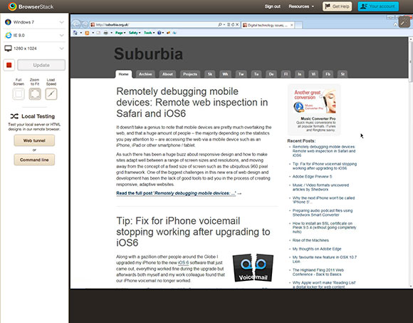Preview of site within BrowserStack
