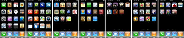 Screenshot of my iPhone screen layouts