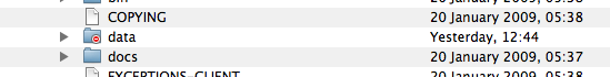 Image of MySQL's Data folder in the Finder
