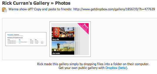Screenshot of Dropbox's photo gallery