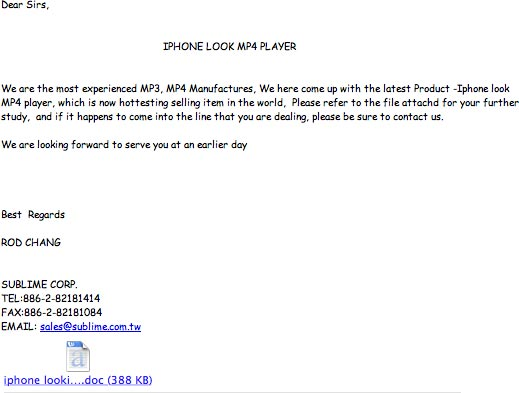"Email about ""Iphone looking Mp4 player"""