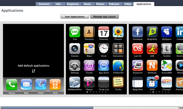 Mockup of iTunes app management screen