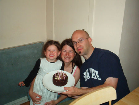 Nat, Mom, Dad, Cake.