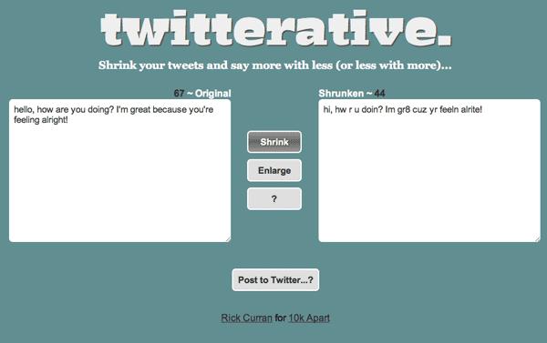 Screenshot of Twitterative app